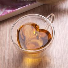 240 мл в форме сердца стеклянная чашка для сока Милая двухслойная кофейная кружка для влюбленных прозрачные чашки для чайной церемонии кунг-фу кофейная кружка подарок 9 стилей