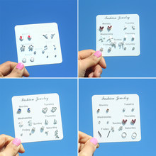 7 Pair/Bag Popular One Week Stud Earrings for Women Multiple Styles Small Heart Tree Crystal Pearl Female Silver Earrings Set(China)