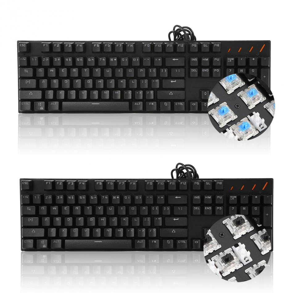 USB RGB Backlit 104 Key Game Mechanical Keyboard With 7 Kinds Light Blue Switch/Linear Action ...