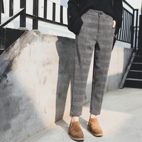 Woolen Pants Plaid Check Ankle Length Banana Style Autumn Winter Women Harem Bottom