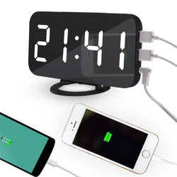 Multifunction Art Digital Wall Clock with Two Android iPhone iPad USB Charge Port Modern Mirrored Electronic Snooze Alarm Clock