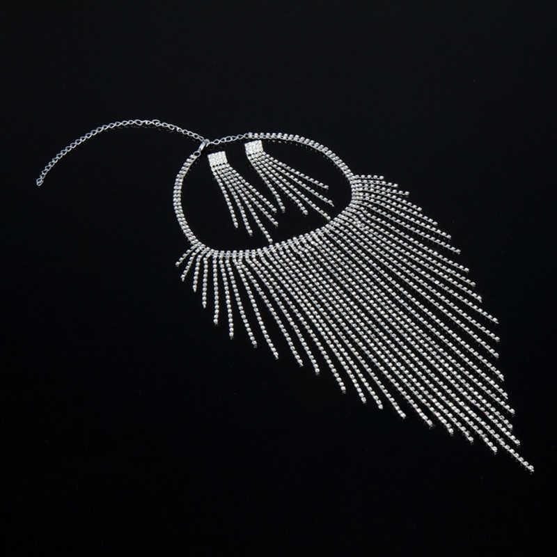 Новый сексуальный женский Кристалл Стразы ожерелье серьги посеребренный Стриптизерша Клубная одежда длинный чокер, колье с кисточками серьги ювелирные изделия