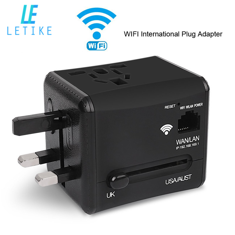 Letike WiFi International Power Voyage Adaptateur Convertisseur Plug All in One Double 2.4A USB Universel Chargeur Mural pour ROYAUME-UNI/UE/UA/Asie