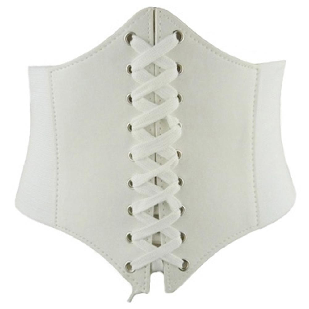 Solid Color Women Slim Body Shaper Underbust Corset Lace Up Waistband Waist Belt Trendy