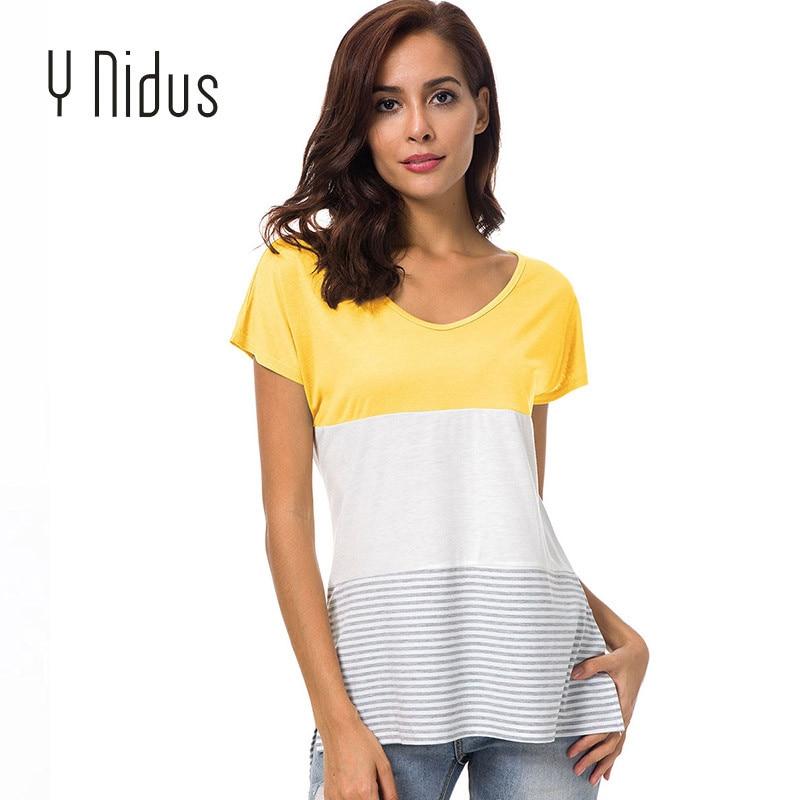 Y Nidus Womens Shirt Summer Patchwork Blouse 2018 Short Sleeve Triple Color Block Stripe Shirt Casual Top Blusas Feminina S-XXL