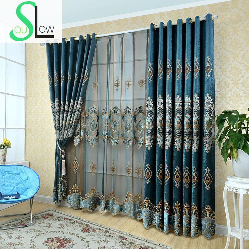 Slow Soul Blue Laser Curtain Needlepoint Embroidered Europe Floral French Window Curtains For Living Room Tulle Kitchen Bedroom
