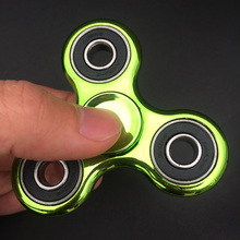 DHL 500pcs/lot Gold Plating Hand Spinner Tri-Spinner Fidget For Autism and ADHD Rotation Stress Relief Toys with package