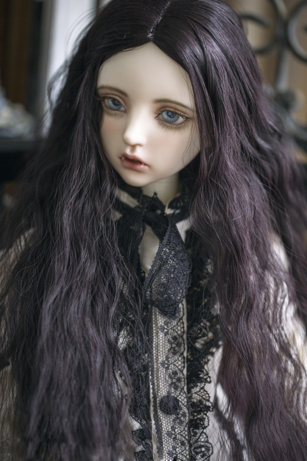 BJD Doll Wigs Long Curly Hair For 1/3 BJD DD SD Doll Size Violet Black High-temperature Wire Hair Wigs