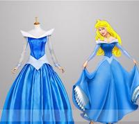 halloween party blue S XL adult princess aurora sleeping beauty cosplay Costume dress adult sleeping beauty role palying dress