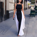 Verão sexy strap mangas backless mulheres dress 2016 hot black white color contrast elegante vestidos de festa longo maxi vestidos