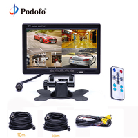 Podofo 7 Split Screen Quad Monitor 4CH Video Input Parking Dashboard Aviation 4 Pins For Car Rear View Camera Car Styling