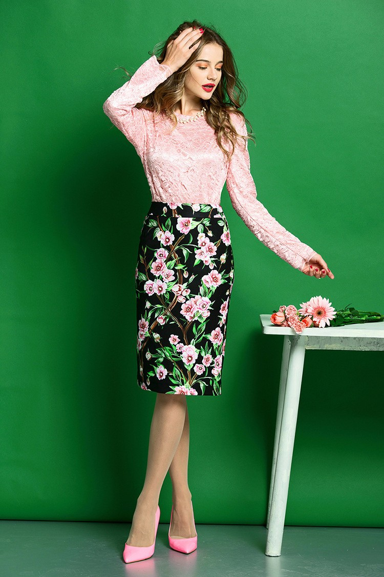 Elegant Women Skirt Suits Long Sleeve Lace Blouse and Floral Print Slim Fit Pencil Skirt Women Business Work Wear (3)