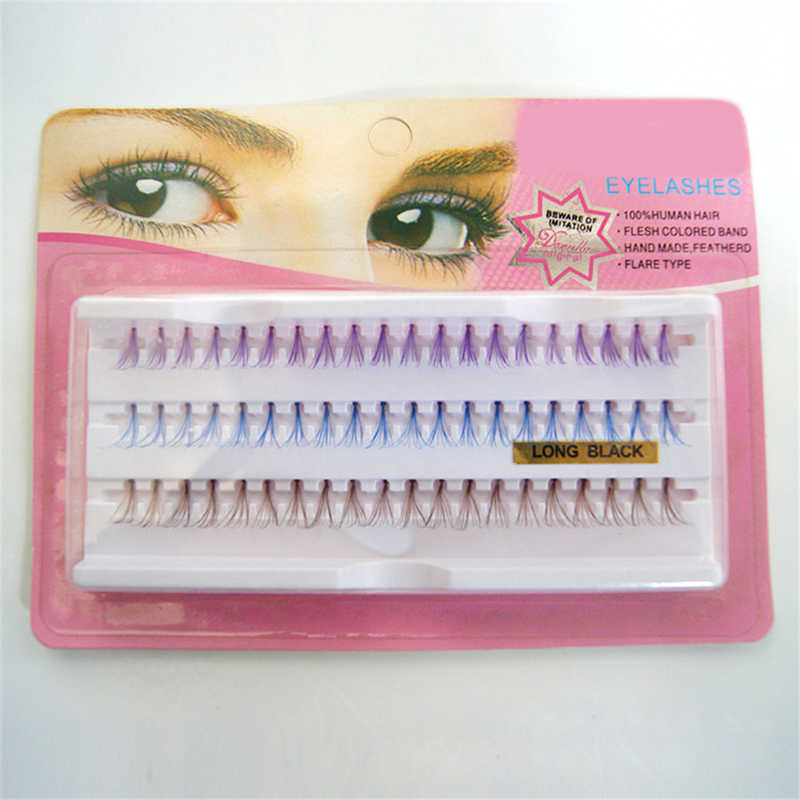 60 pestañas de Cluster cabello humano pestañas individuales coloridas marrón azul púrpura mezclado en una bandeja Color herramientas de extensión de pestañas