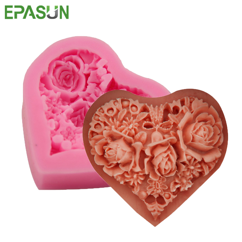 EPASUN Silicone Soap Mold Heart Rose Form Fondant Cake Chocolate Decorating Tool DIY Candle For Making Mould Handmade Craft