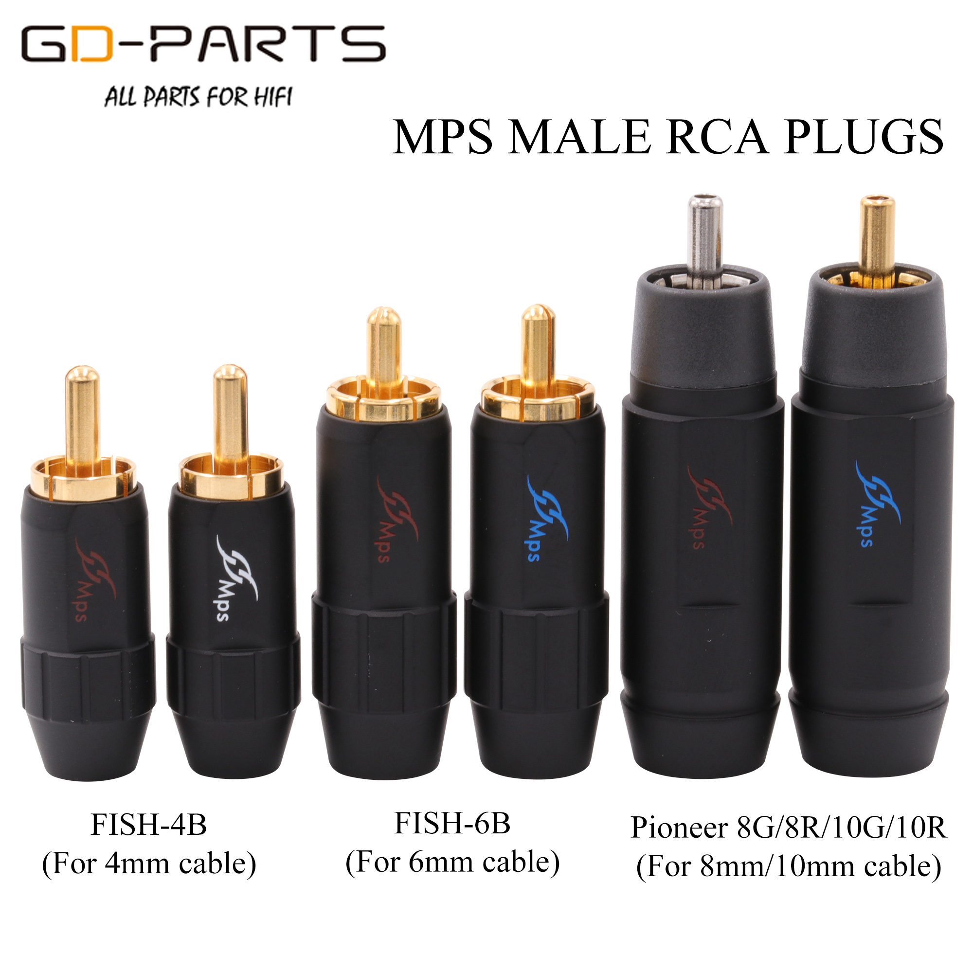 MPS Male RCA Phono Connector Plug Jack 4mm 6mm 8mm 10mm Cable For Hifi Audio AMP CD DIY Gold Rhodium Plated Brass