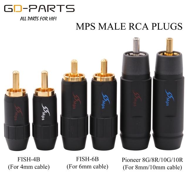 MPS 男性 RCA フォノコネクタプラグジャック 4 ミリメートル 6 ミリメートル 8 ミリメートル 10 ミリメートルケーブルハイファイオーディオアンプ CD DIY ゴールドロジウムメッキ真鍮