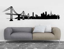 San Francisco City Skyline Silhouette Wall Decals Living Vinyl Art Sticker For Offices, Dorm, Home Decor Adesivo De Parede LA024