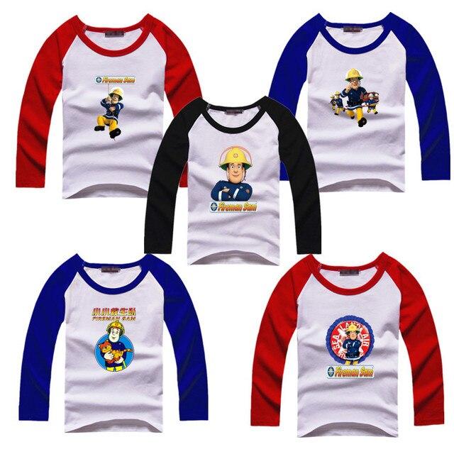 Пожарный Сэм Весна и Осень дети мальчик девочек одежда с длинными рукавами Футболки, мама размер высота 145-170, папа размер высота 145-180