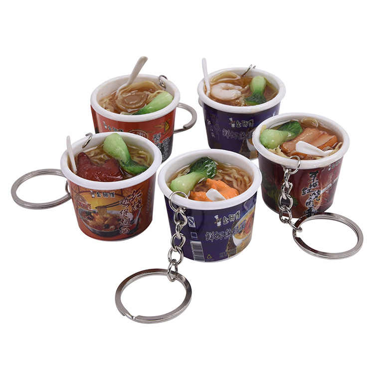 Creative Simulation Food Pendant key Chain New fashion Braised Beef noodles Keychain Gift Jewelry Key Ring K3011
