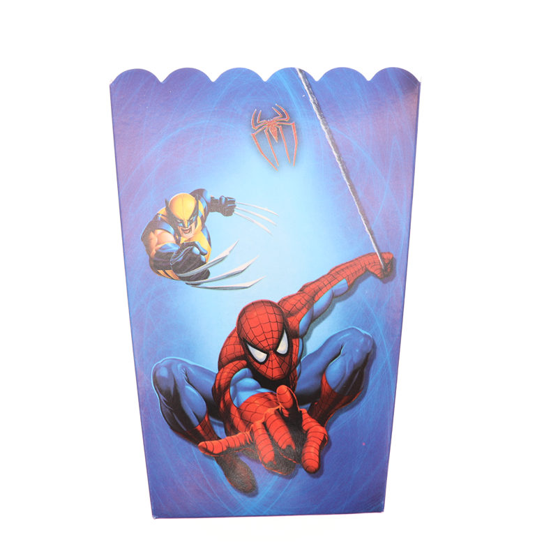 Us 1 85 36 Off 6pcs Popcorn Box Spiderman Favor Bags For Food Happy Birthday Wedding Christmas Decortion Birthday Party Supplies In Cake Decorating