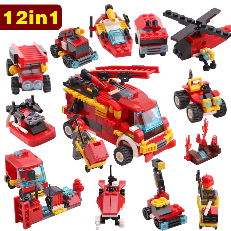 Model Building 356pcs Fire Fighting 12in1 Trucks Car Helicopter Boat Building Blocks Compatible Legoingly City Firefighter Figures Children Toy Be Friendly In Use Toys & Hobbies