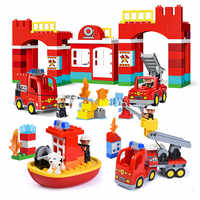 Diy Big Size City Fire Department Firemen Building Blocks Compatible With LegoINGlys Duploed Brick Toys For Baby Children