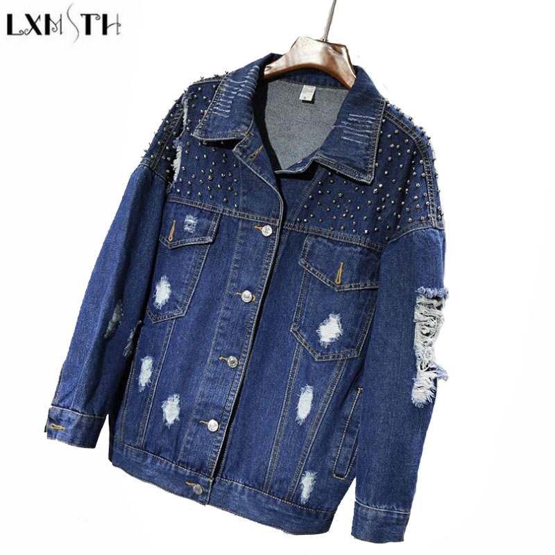 LXMSTH Spring Autumn Korean Women Denim Coats And jackets Batwing Sleeve Loose Hole Beading jeans jacket Casual Denim Oversized