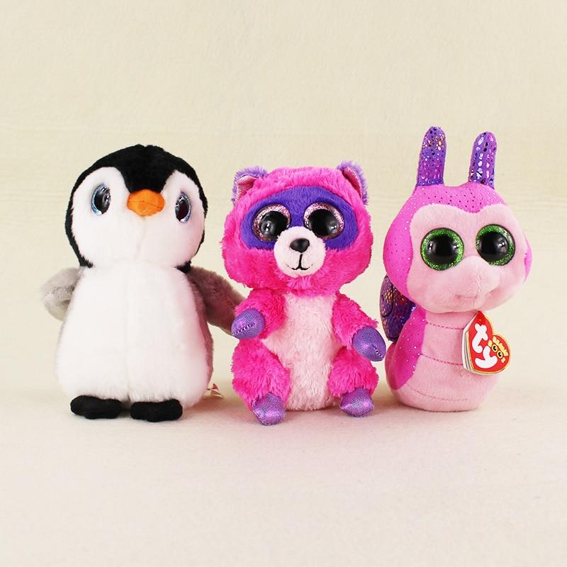 3 Styles 16cm Cute TY Beanie Boos Big Eyes Penguin Raccoon Snail Plush Stuffed Soft Animals