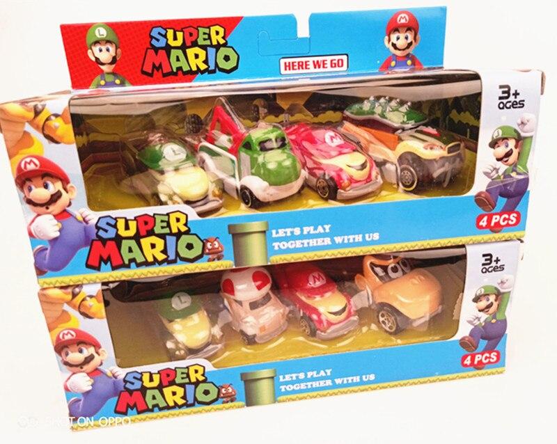 4 pçs/set Super Mario Mario Bros Figura de Ação Brinquedos Do Carro de Metal Presente Das Crianças Com Caixa