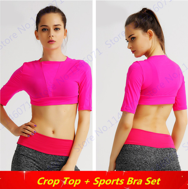 07e144882ee Rose Red Running Shirts Cropped Top Pink Peach Fitness Crop Top Candy Color  Sports Shirt Half-Sleeved Yoga Shirt Ladies