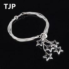 TJP Cute 5 Star Design Female Bracelets Jewelry Fashion Silver 925 Bracelet For Women Party Accessories Hot Girl Lady Gift Bijou