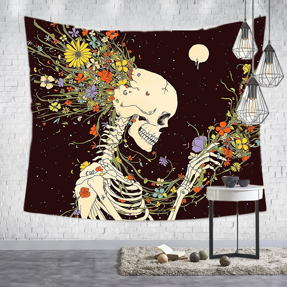 Loartee Psychedelic Gothic Skull Tapestry Romantic Flower Death Art Painting Wall Hanging Decorative Print Picture Tapiz Blanket