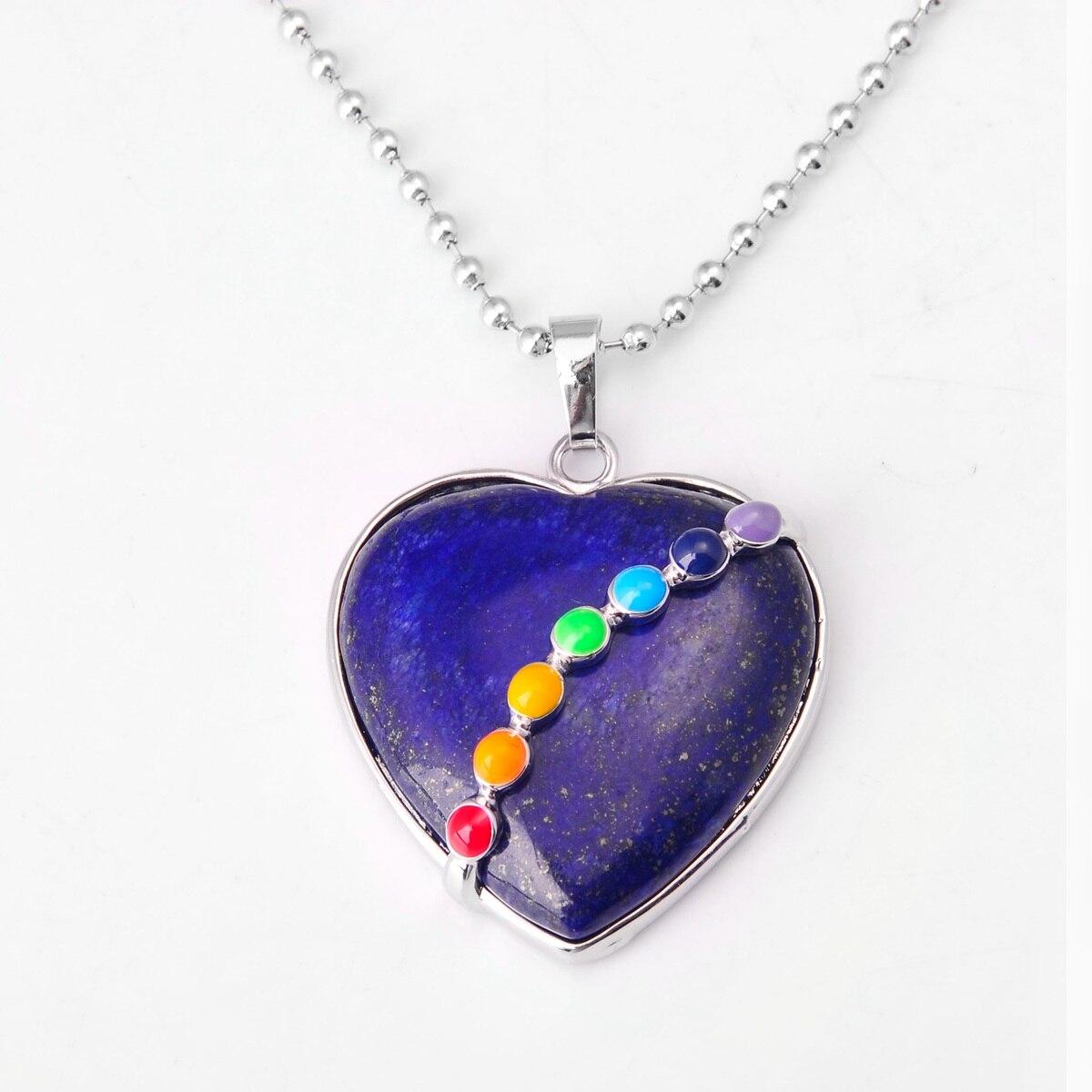 ASHMITA малахитовое сердце из кабошона с 7 чакра камень кулон ожерелье - Окраска металла: 35