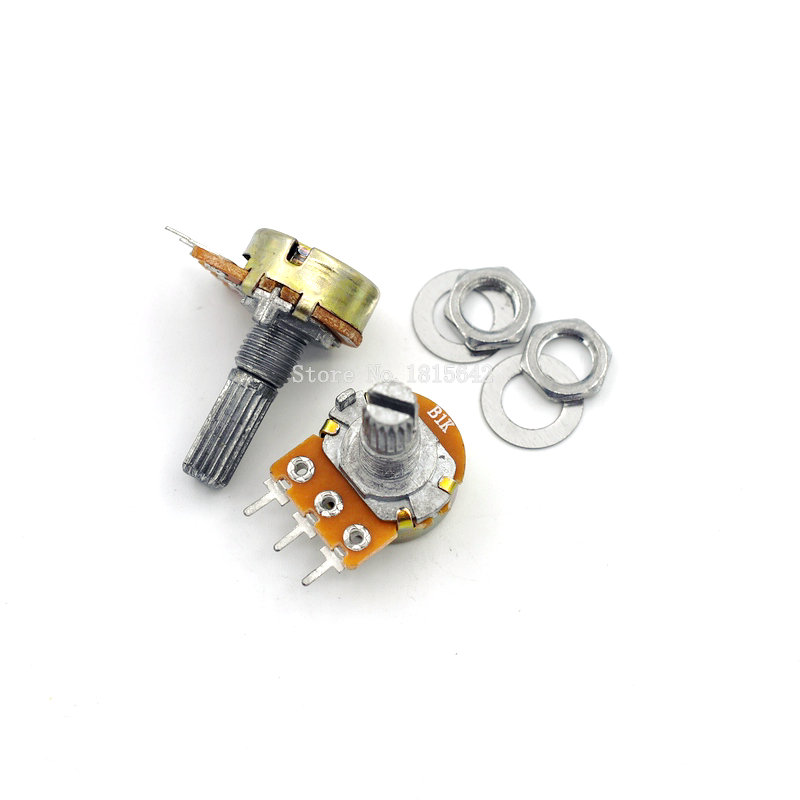 5PCS/LOT 20mm Shaft WH148 B1K 1K Linear Potentiometer With Nuts And Washers 3pin Single Joint