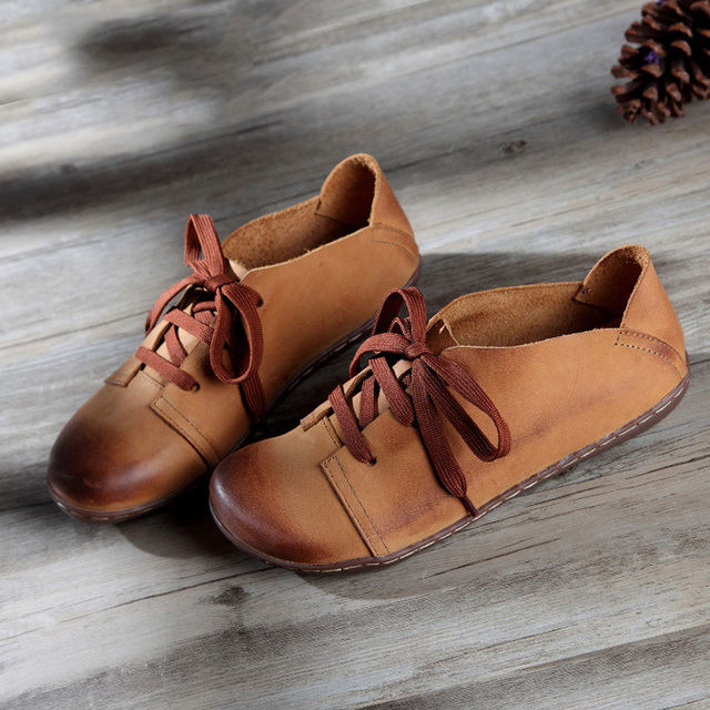 (35-42)Women Shoes Flat Hand-made Genuine Leather Lace up Shoes Brown/Green Casual Flat Shoes Spring/Autumn Footwear(8816)