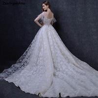 Luxury Princess Wedding Dress Short Sleeves Wedding Gowns Elegant Champagne A Line Wedding Dress Lace Vestido De Noiva Plus Size
