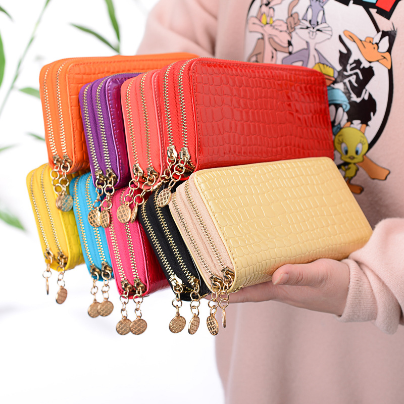 Leather Long Wallet Women Purse Double Zipper Wristlet Bag Phone Pocket Clutch Bags High Capacity Card Holder Purses And Wallets