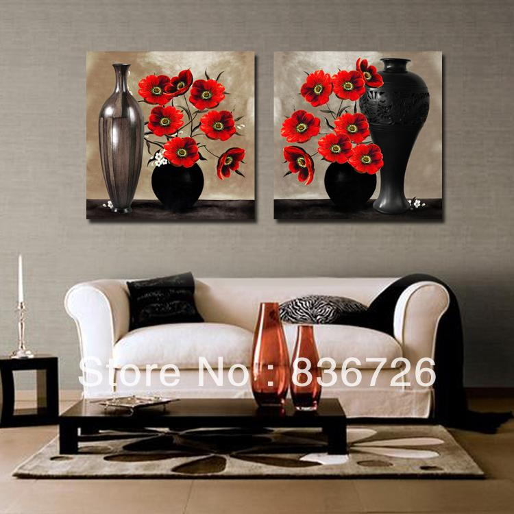 2 piece canvas wall art Abstract paintings black and red ...