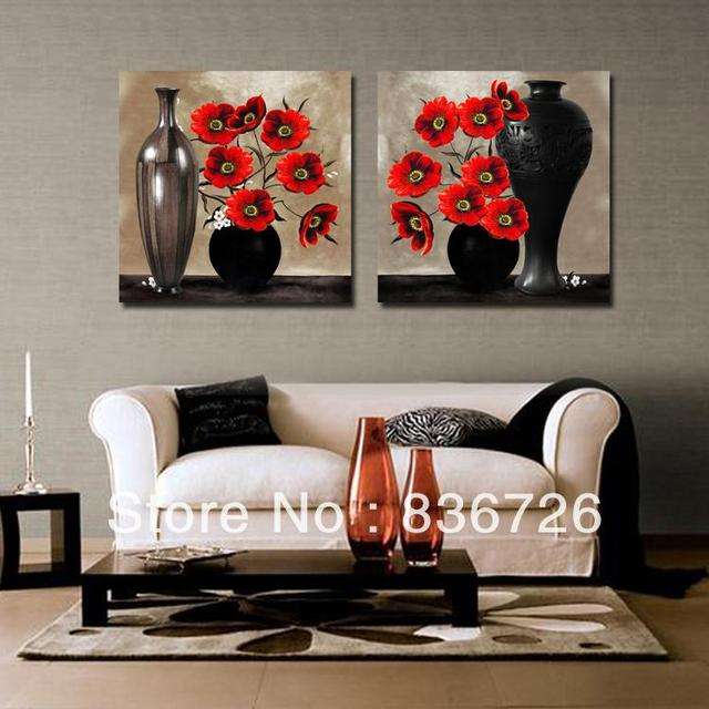 2 Piece Canvas Wall Art Abstract Paintings Black And Red Wall Decor
