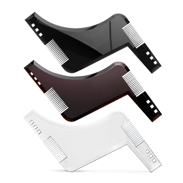 Multifunctional Beard Shaping & Styling Tool with Inbuilt Comb for Perfect Line Up & Sharpening Men Beard Comb Hair Trim Models