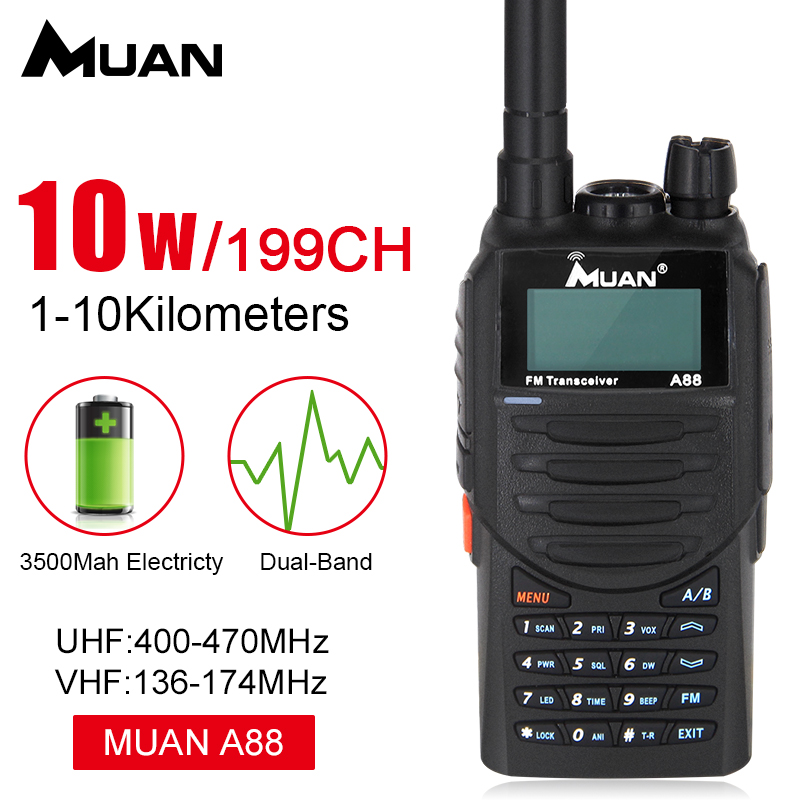 Muan A88 Talkie-walkie 10 km Bidirectionnelle Bi-bande Radio VHF 199CH Portable Jambon Radio Communicator Talkie-walkie talkies-walkies Pour La Chasse