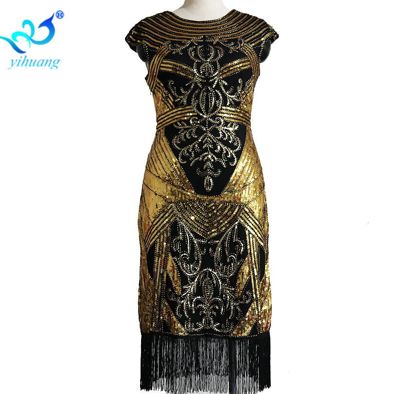 Ladies Vintage 1920s Costume Dress Great Gatsby Flapper Sequin Beading Fringe Embroidery Retro Charleston Weeding Cocktail