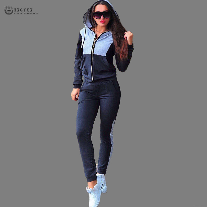 Autumn Two Piece Clothing Set Women Tracksuit Patchwork Hood Hoodies Sweatshirt Long Pant Suits Casual Zipper Sports Wear B232