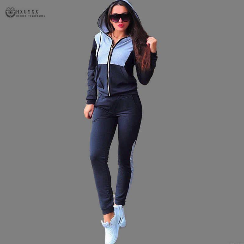 Conjunto de ropa de dos piezas de otoño para mujer chándal con capucha de retazos Sudadera con capucha trajes de pantalón largo Casual con cremallera ropa deportiva B232
