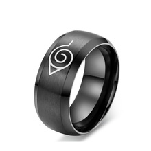 anime naruto ring black cool men jewelry stainless steel mens man party usa size Boy girl cartoon ring