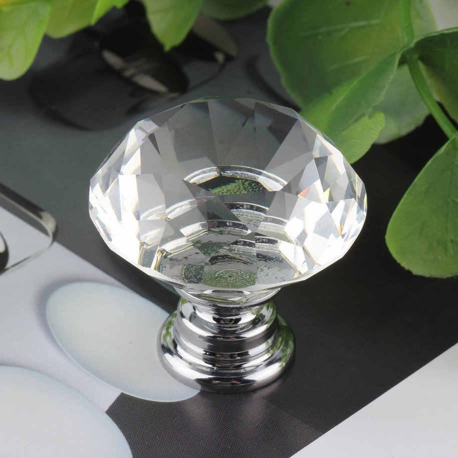 1 pc 30mm היהלום צלול זכוכית דלת למשוך מגירת ארון ריהוט אבזר ידית Knob בורג חם ברחבי העולם