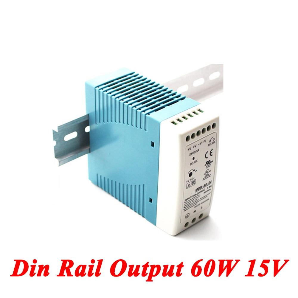 MDR-60 Din Rail Power Supply 60W 15V 4A,Switching Power Supply AC 110v/220v Transformer To DC 15v,ac dc converter mdr 100 din rail power supply 100w 15v 6 6a switching power supply ac 110v 220v transformer to dc 15v ac dc converter