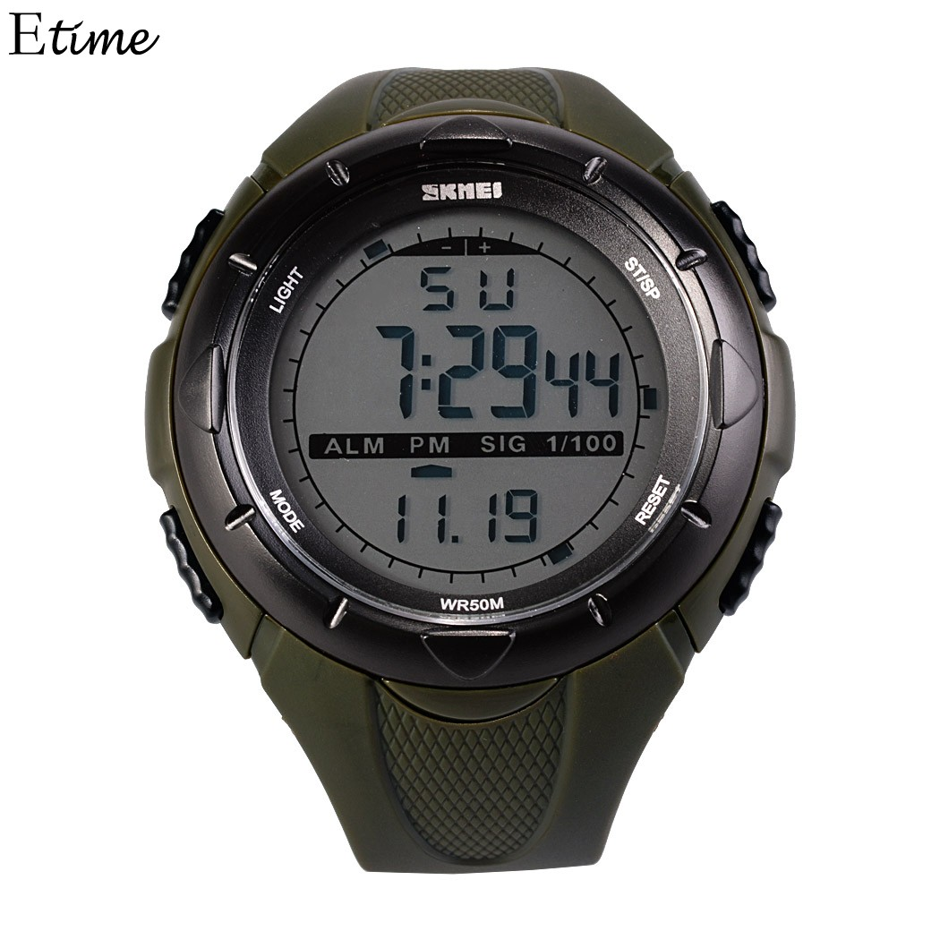 Quartz Watches Men 50M Waterproof Digital LCD Alarm Date Mens Sporting Watch Male