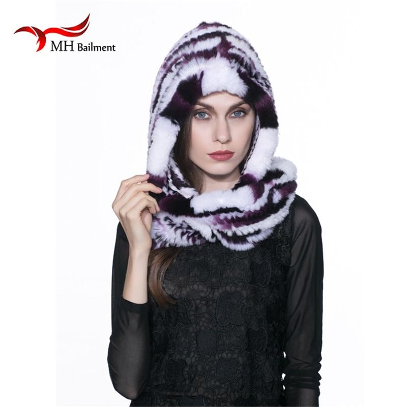 ФОТО Real Rabbit Fur Hat Scarf Winter fashion  woman's fur coat scarf hat Rex thicker warm women's headgear headgear Russia hot H#5