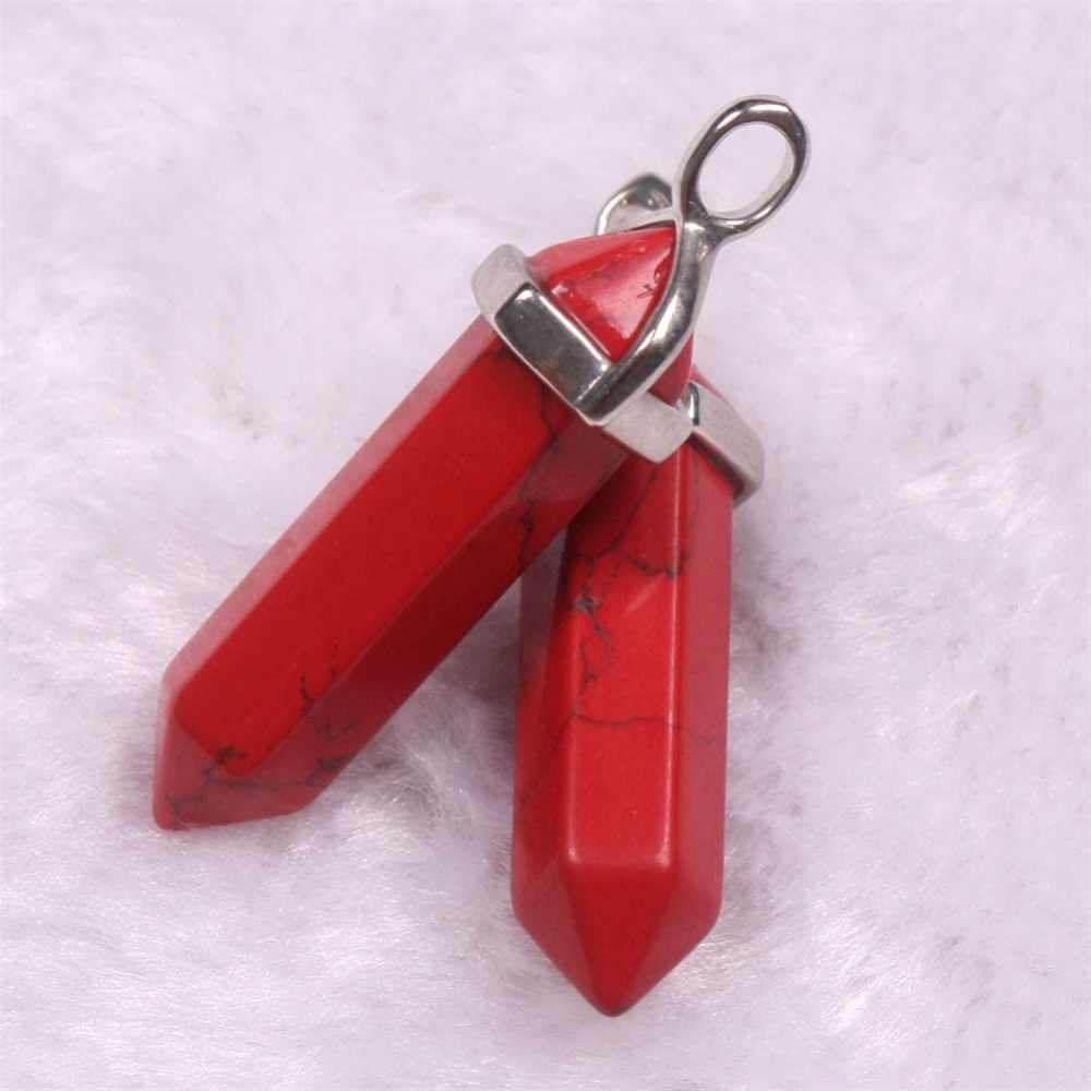 六角柱天然水晶石の魅力ペンダントラピスラズリのネックレス Amethyste 振り子女性の Diy のジュエリーホット販売